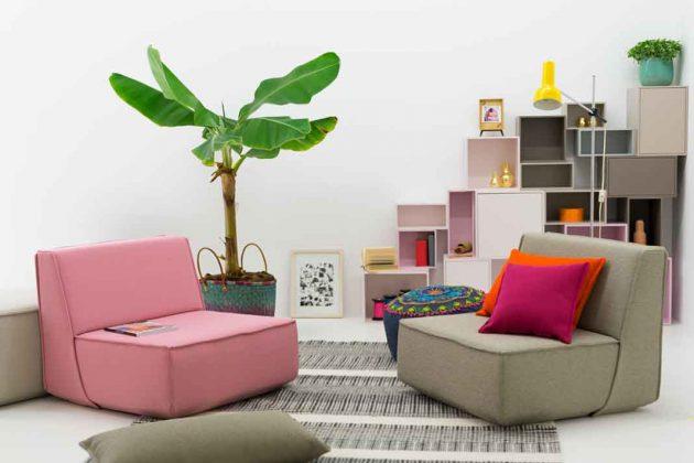Sessel mit Kissen in pink und grau