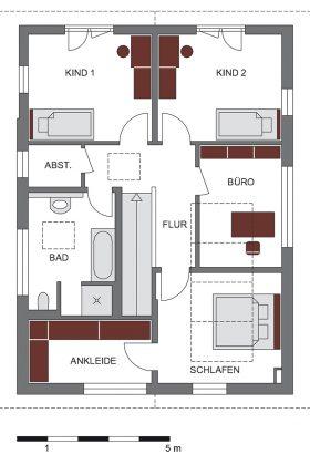 Grundriss Dachgeschoss - Einfamilienhaus mit Satteldach - GUSSEK HAUS