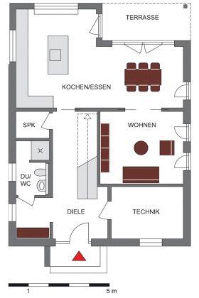 Grundriss Erdgeschoss - Einfamilienhaus mit Satteldach - GUSSEK HAUS