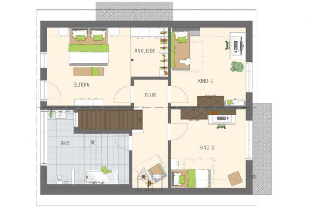 Grundriss Dachgeschoss - Individuelles Familienhaus - FingerHaus GmbH