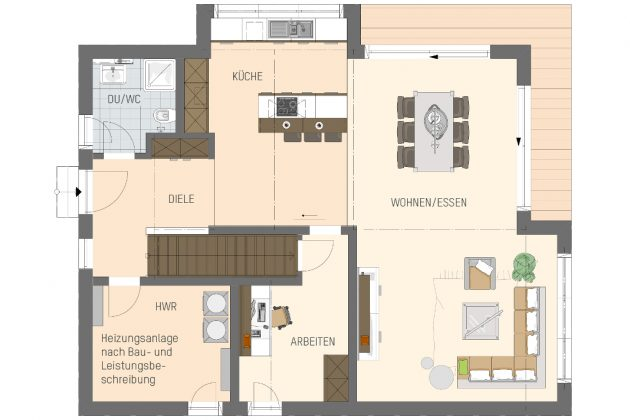 Grundriss Erdgeschoss - Individuelles Familienhaus - FingerHaus GmbH