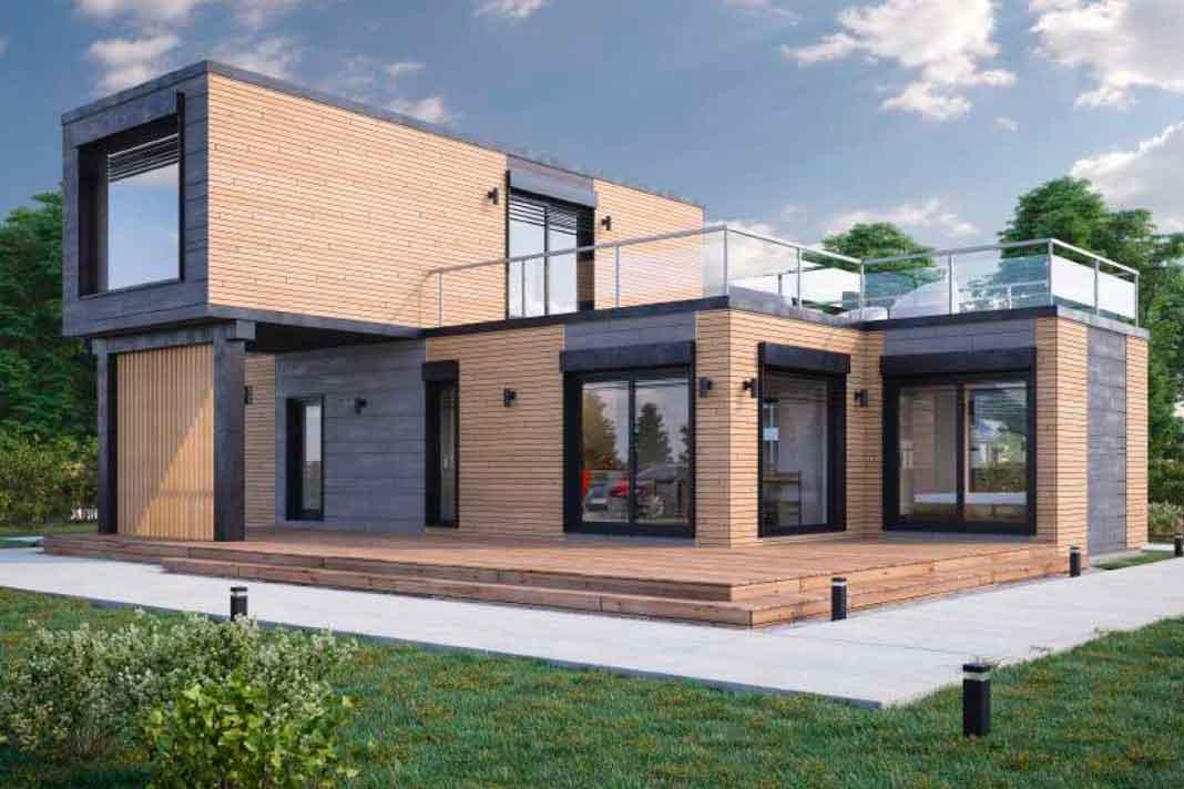 modernes Wohnhaus in modularer Bauweise