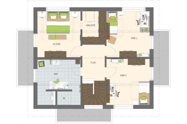 Grundriss Dachgeschoss - familienfreundliches Musterhaus - FingerHaus GmbH