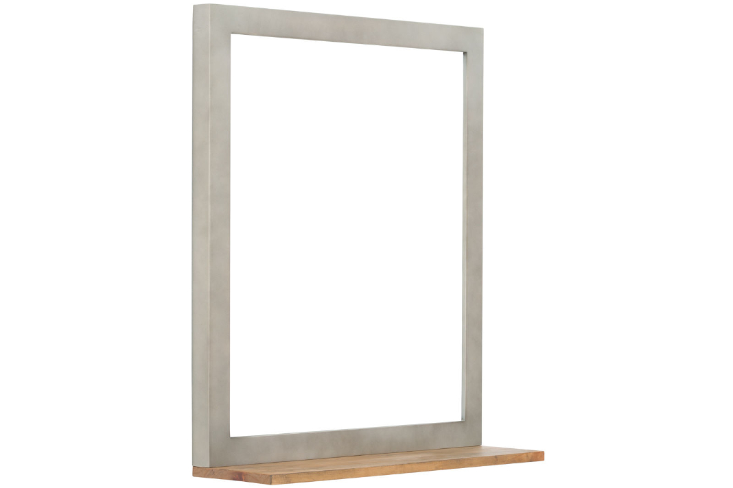 Spiegel mit Materialmix aus Beton und Massivholz - individuelle Badmöbel - massivum