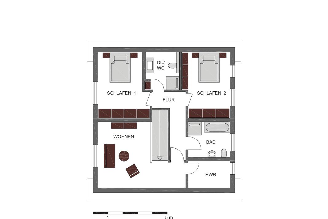 Grundriss Obergeschoss - Modernes Schwedenhaus - SchwörerHaus KG