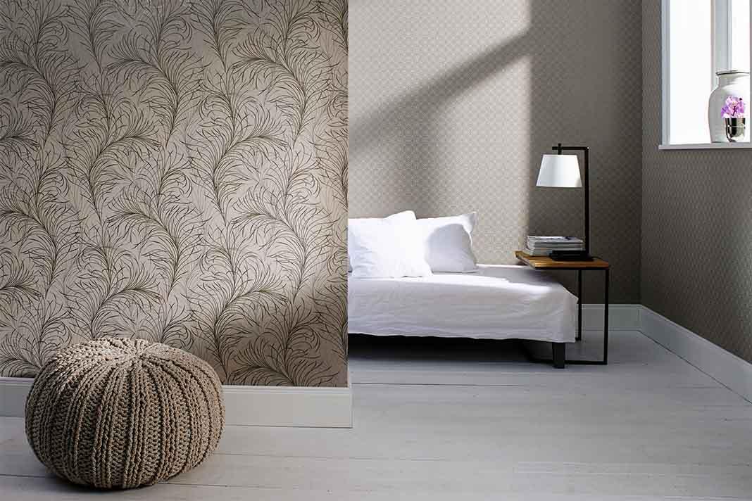 Schlafzimmer mit Tapete Lagom Design Trend Stil aus Schweden.