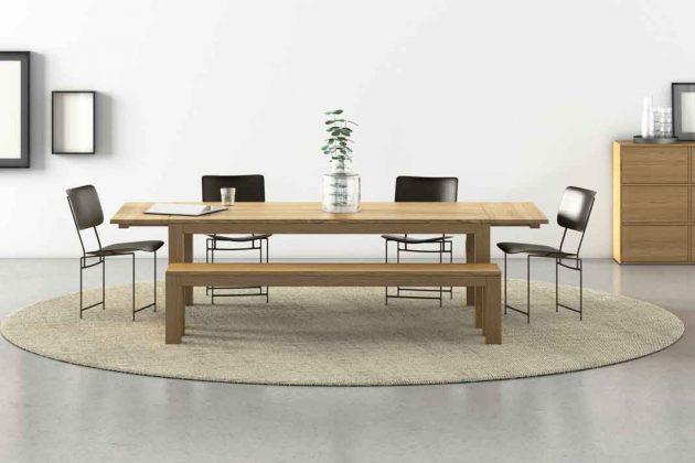 nachhaltiger Esstisch mit Sitzbank