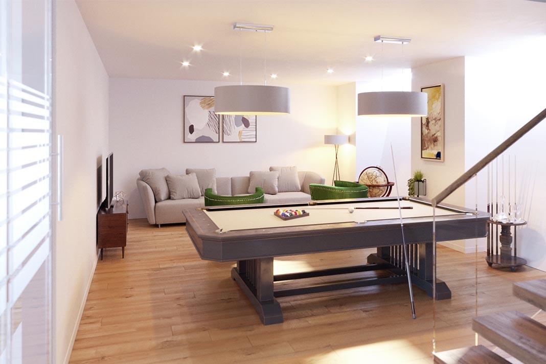 Wohnkeller mit Billardtisch.