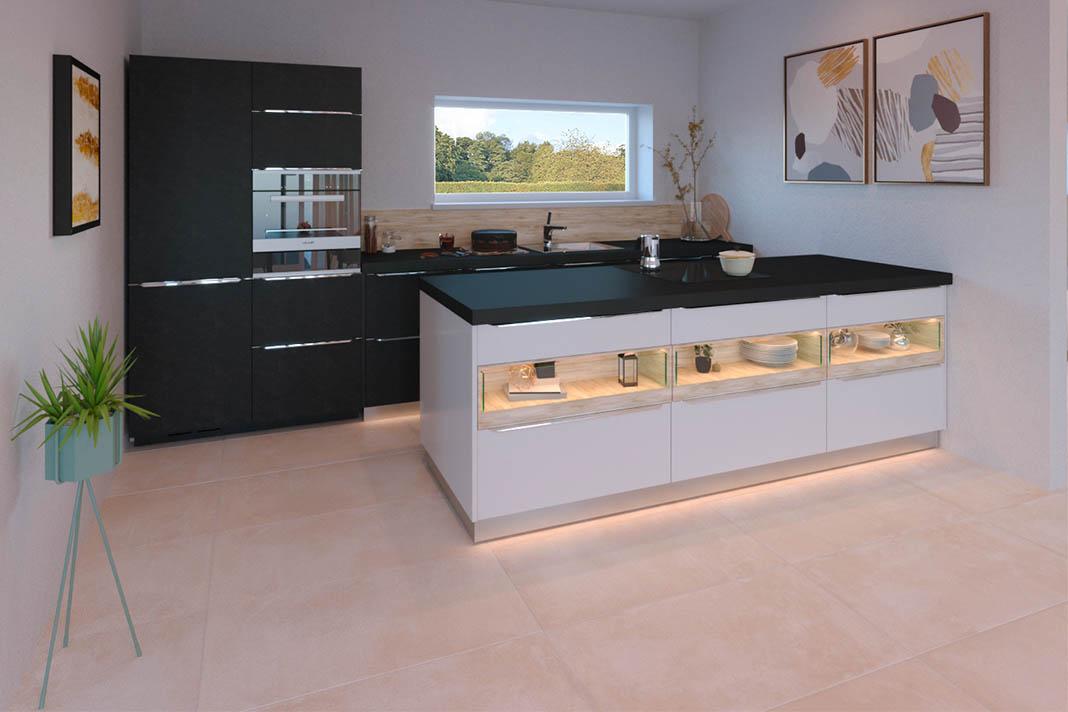 Modern ausgestattete Küche in Bungalow.