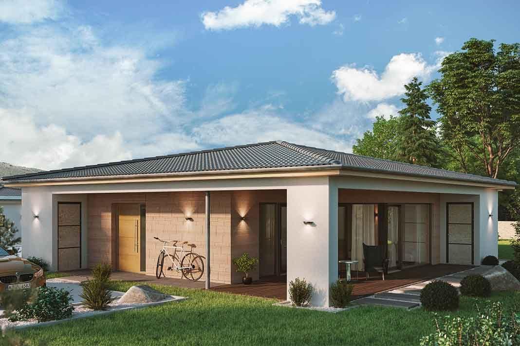 Moderner Bungalow mit Terrasse.