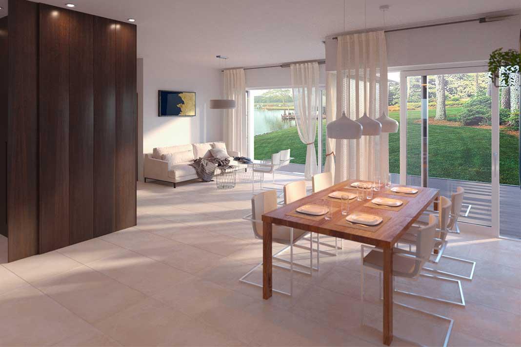 Esstisch im offenen Wohn- und Essbereich in einem modernen Bungalow von Kampa.