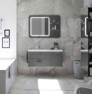 Moderne Badmöbel grau