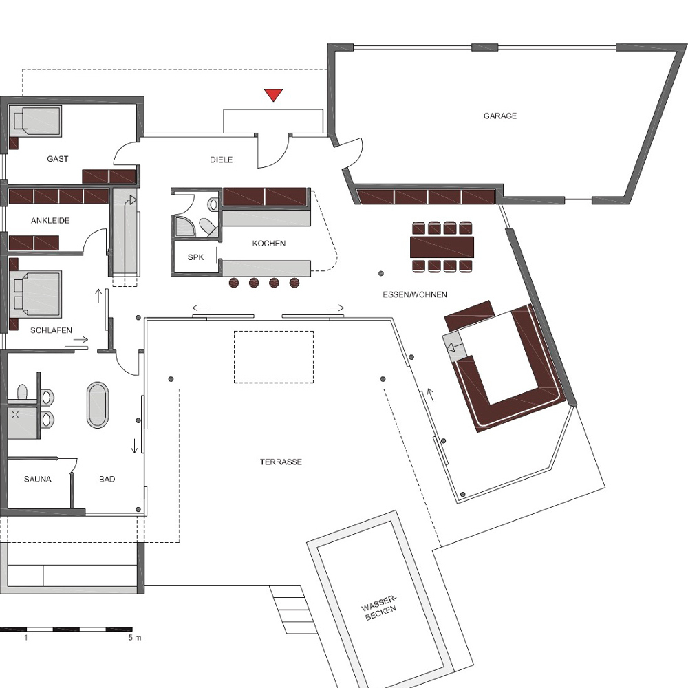 Atrium-Bungalow - Grundriss - Architekt Thomas Meese
