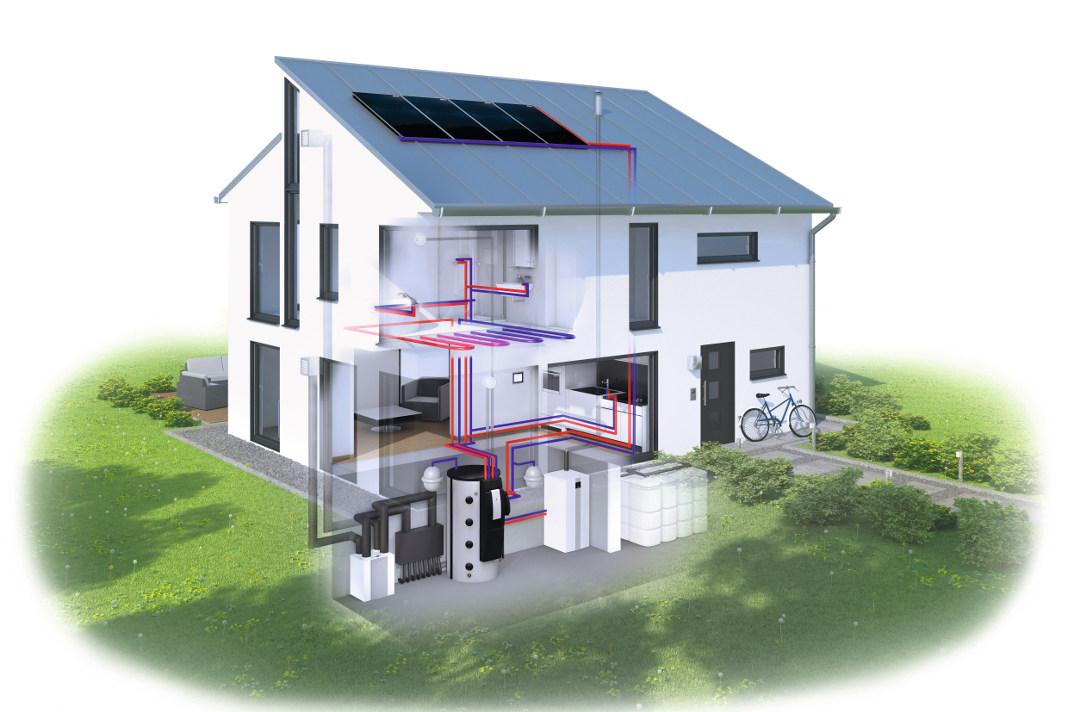 Eine Hybridheizung as Trio: Lüftung, Solarwärmeanlage und Gas-Brennwerttechnik - Wolf