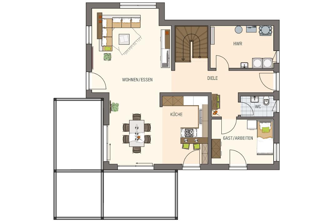 Grundriss Erdgeschoss - Moderne Stadtvilla Medley 3.0 - FingerHaus
