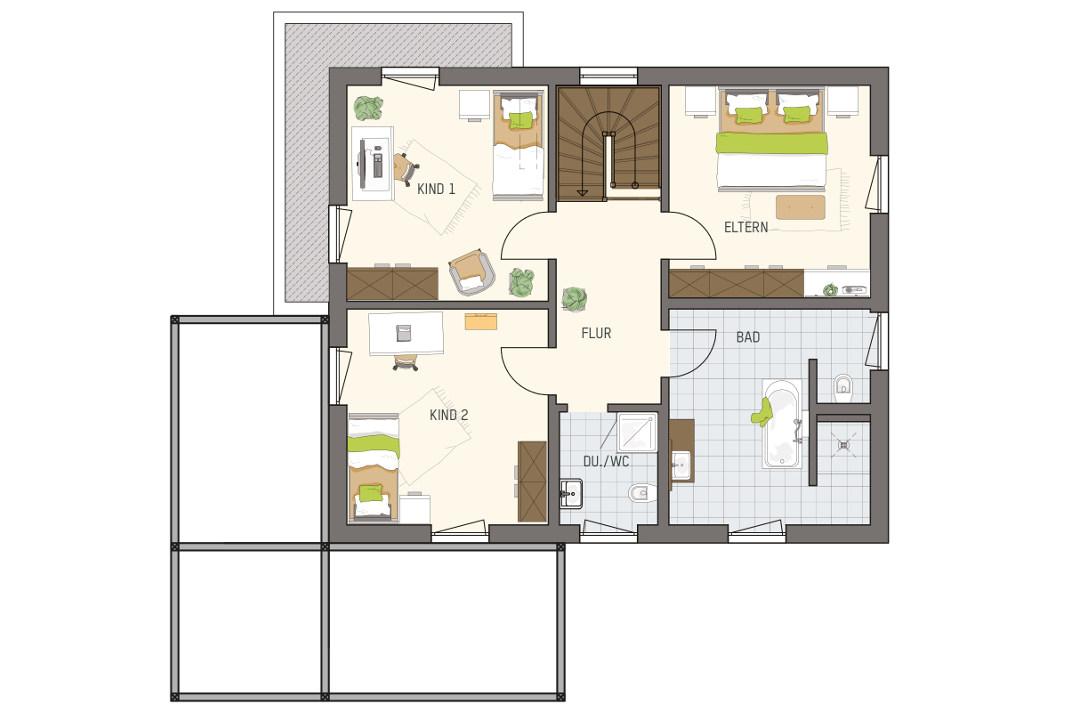 Grundriss Obergeschoss - Moderne Stadtvilla Medley 3.0 - FingerHaus