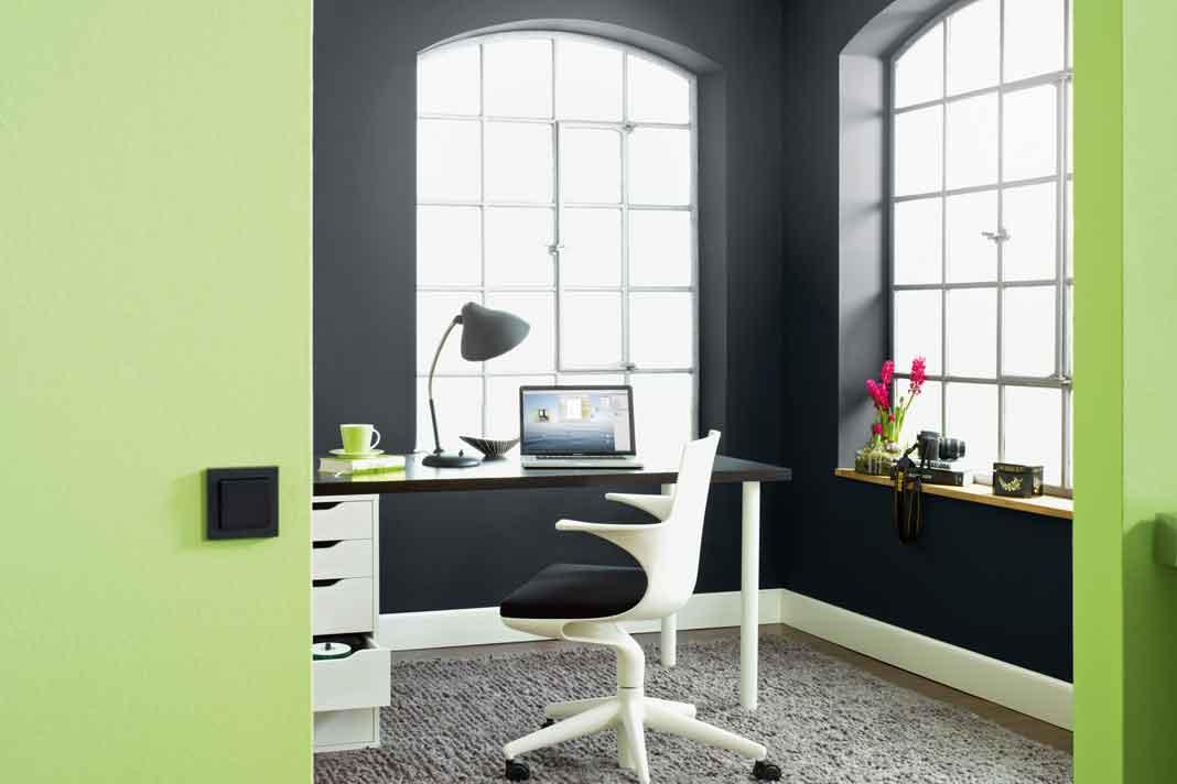 Home Office in grün und schwarz