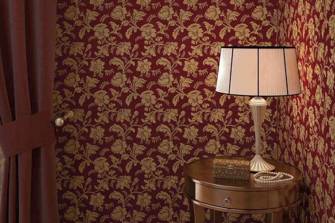 Tapete mit Muster bewirkt eine Wandgestaltung im Retrostil - Rasch