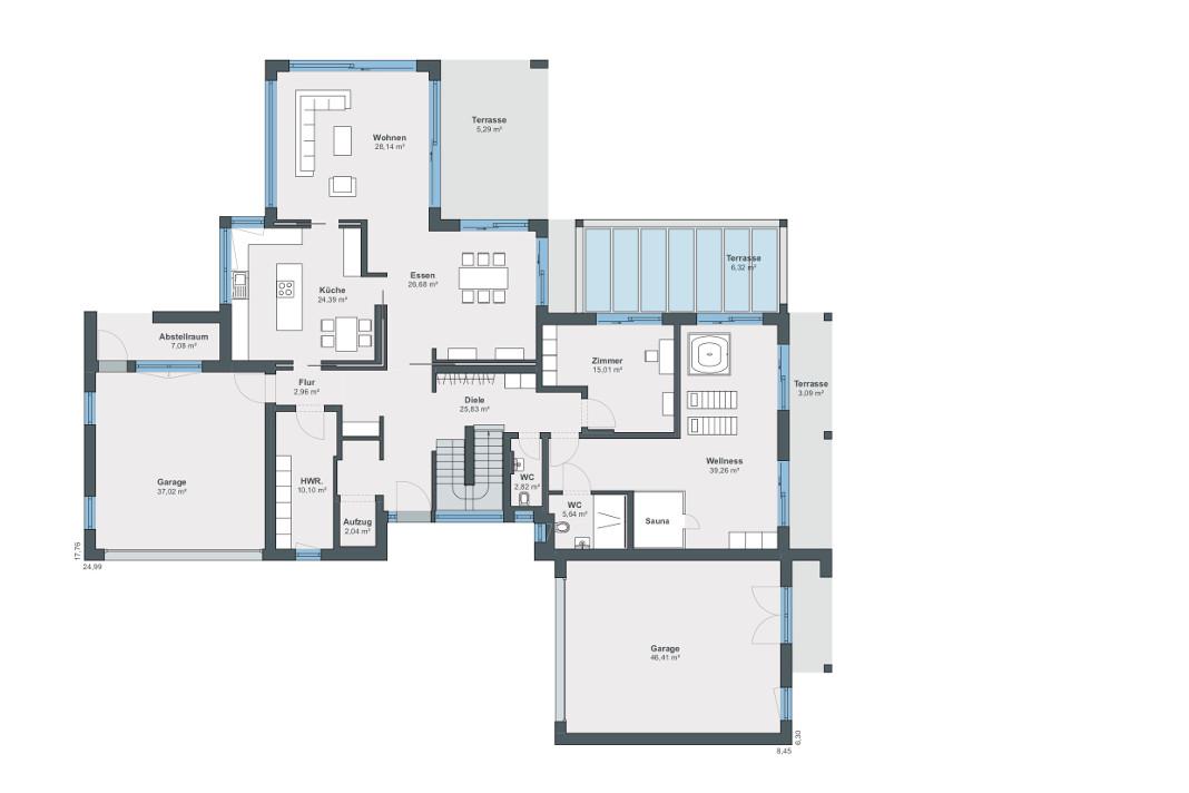 Villa als Architektenhaus im Bauhausstil von WeberHaus - Grundriss Erdgeschoss