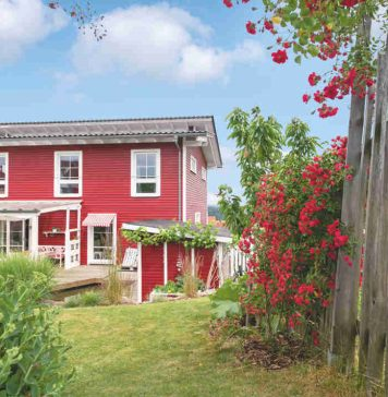 Gartenansicht rotes Schwedenhaus - SchwörerHaus