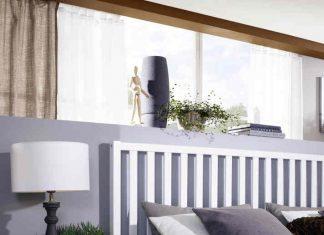 Hygge Schlafzimmer mit Holzbett