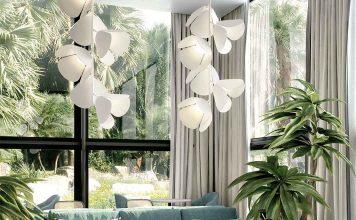 puristisch, weiße Lampe mit ausgefallener Form