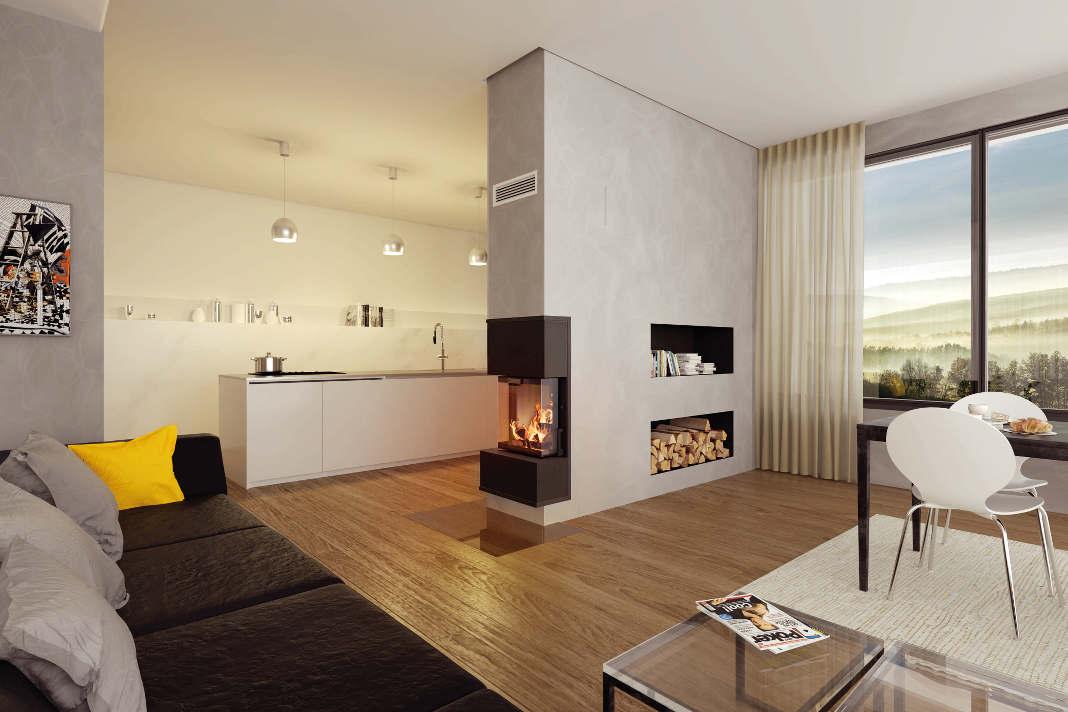 Modernes Wohnzimmer mit Schiedel Kingfire Kamin