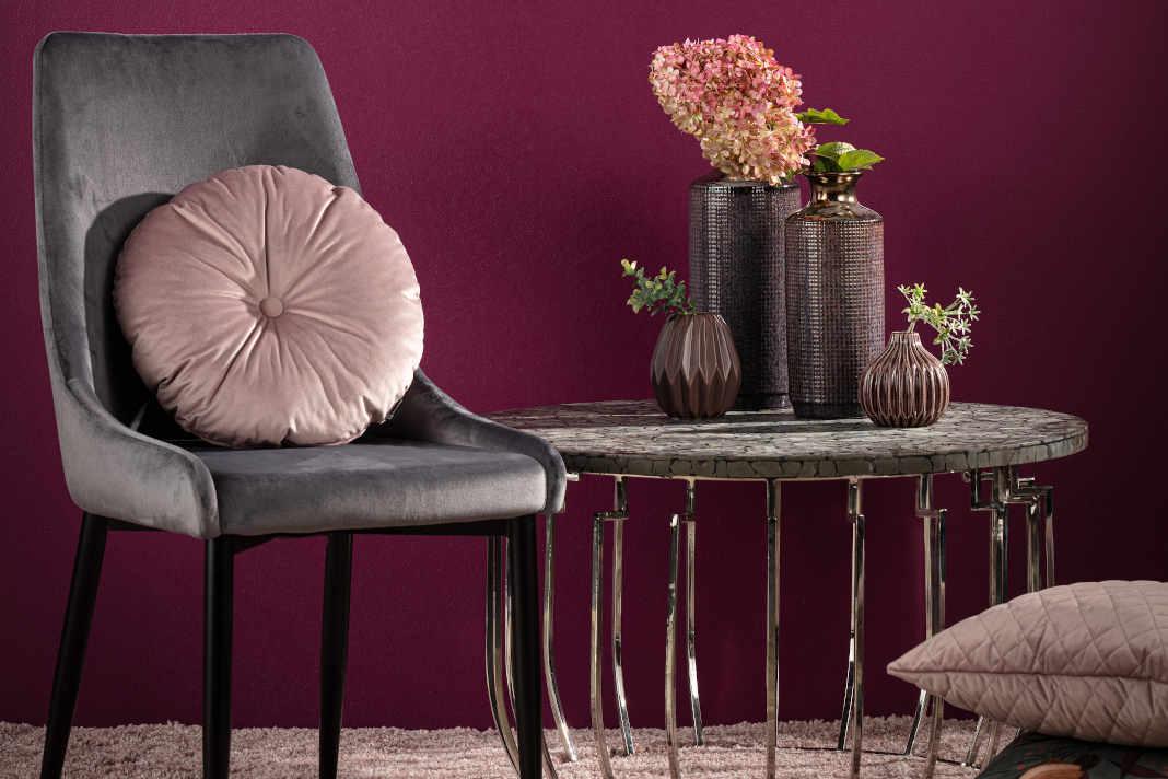 Herbstliche Farbkombi: Purpur und Grau