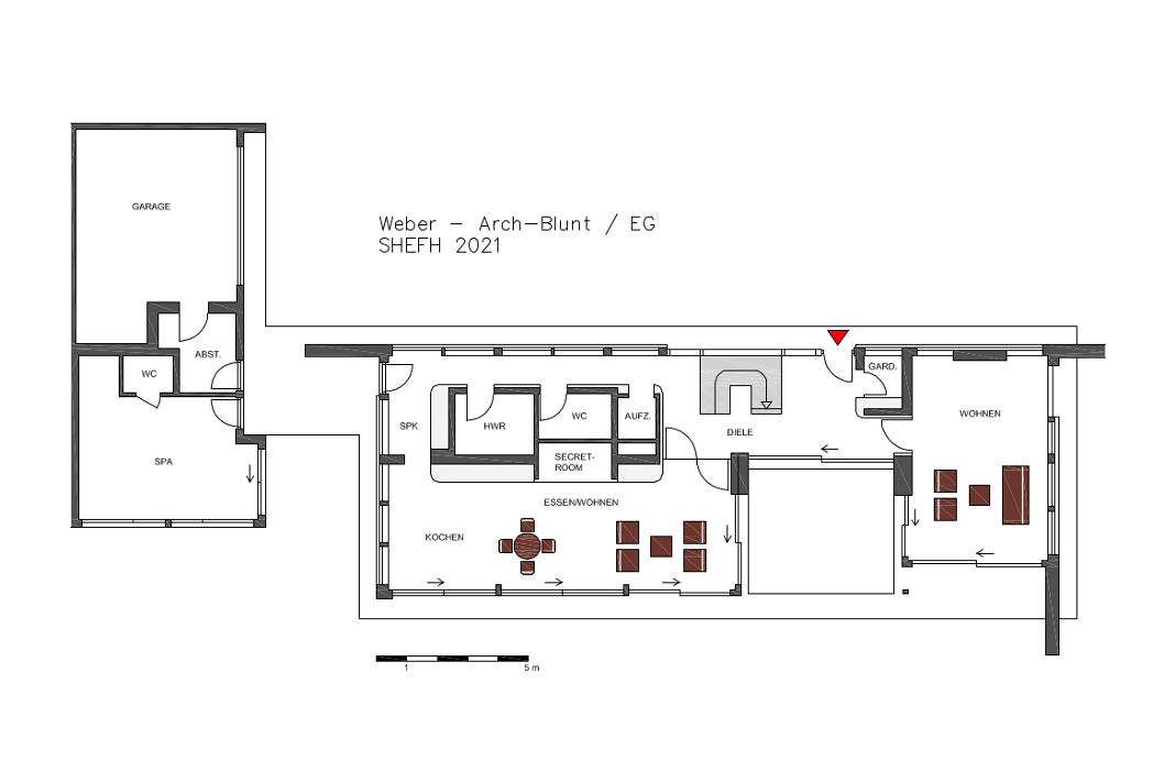 Grundriss Erdgeschoss - Lange Luxusvilla nach Tradition des Bauhauses - Foto: WeberHaus