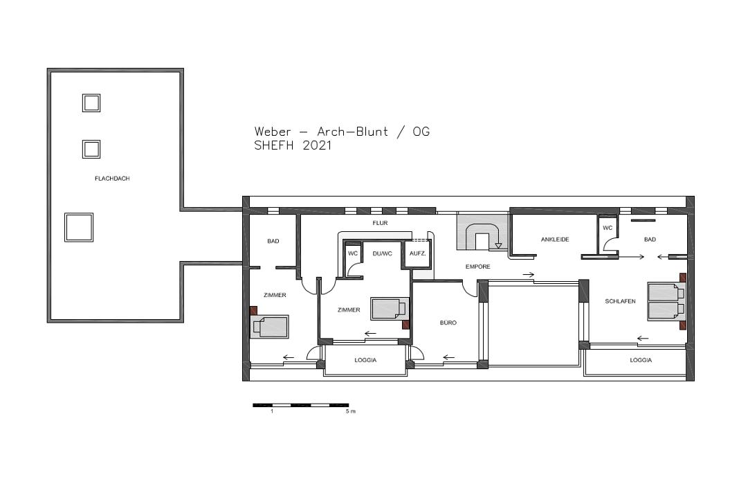 Grundriss Obergeschoss - Lange Luxusvilla nach Tradition des Bauhauses - Foto: WeberHaus