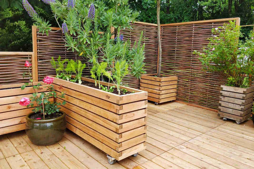 Praktischen Pflanzenkaesten der Kubio-Serie mit Rollen - epr/Gartenfrosch