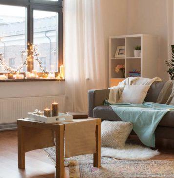 gemütliches Wohnzimmer im Winter