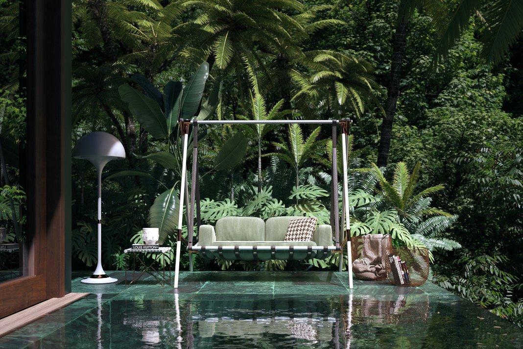 Hollywoodschaukel an einem Pool.