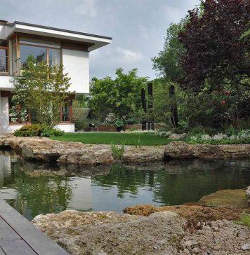 Schwimmteich im Garten eines Einfamilienhauses
