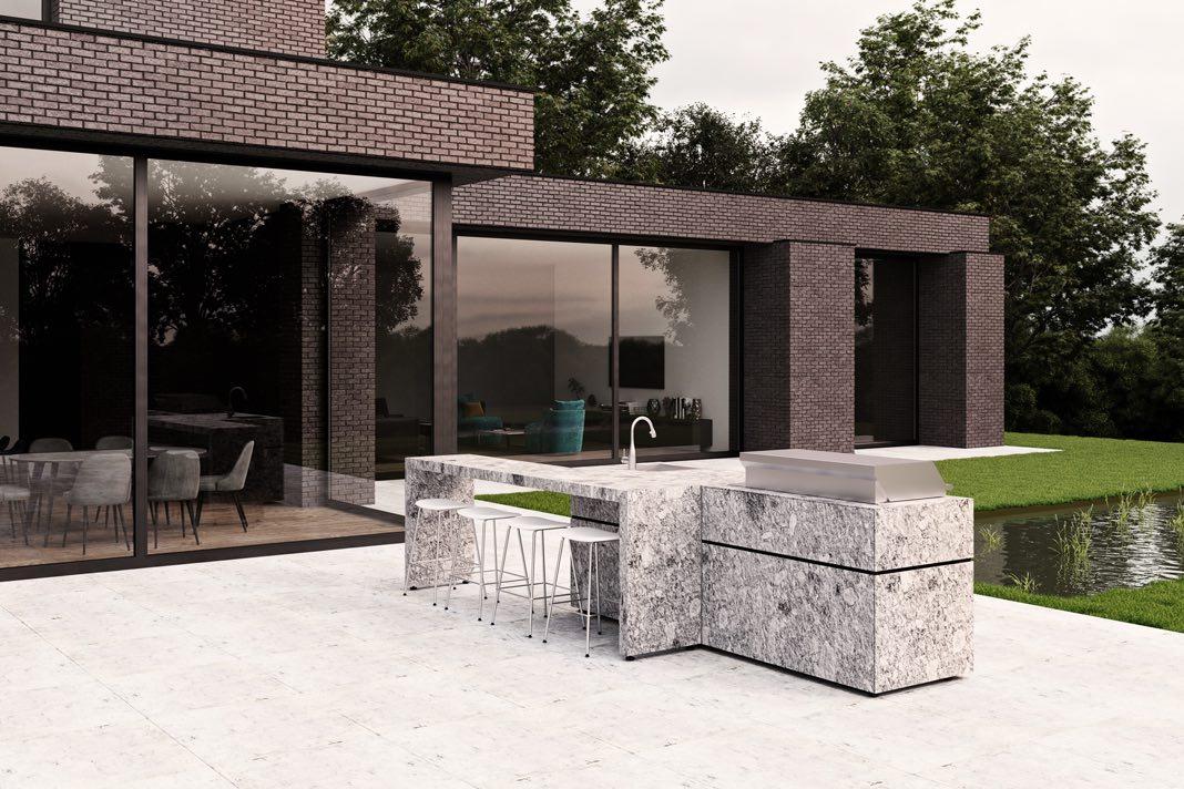 Outdoor Küche aus Beton vor Villa im Bauhausstil