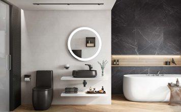 Badezimmer mit weißen und schwarzen Elementen