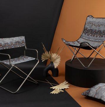 Gartenmöbel mit Stoffbezug von Jean Paul Gaultier.