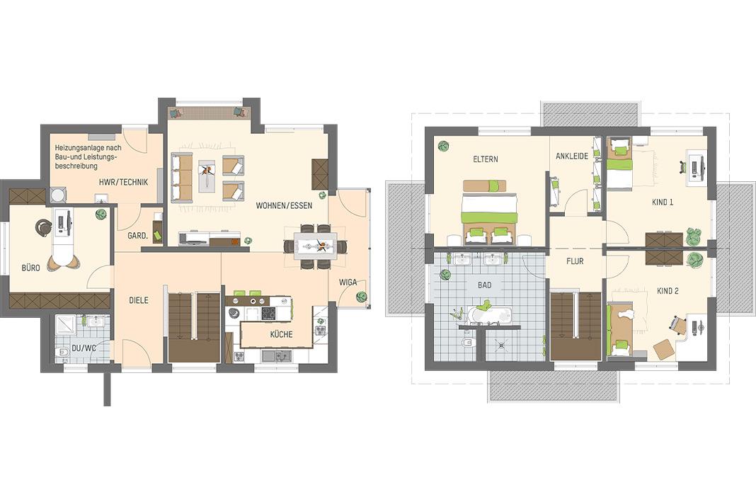 Grundrisse des Erd- und Dachgeschosses